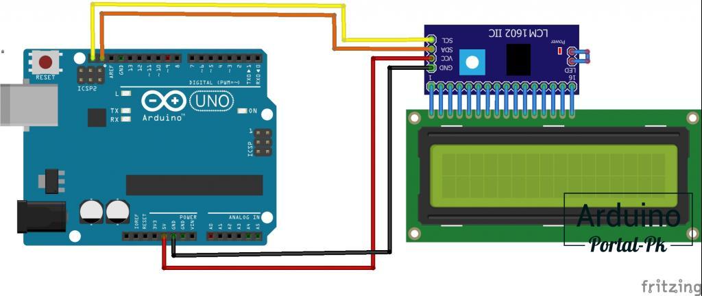 Схема подключения LCD 1602 к Arduino UNO по I2C.