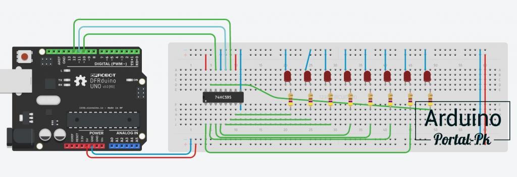 Схема подключения сдвигового регистра к плате Arduino UNO