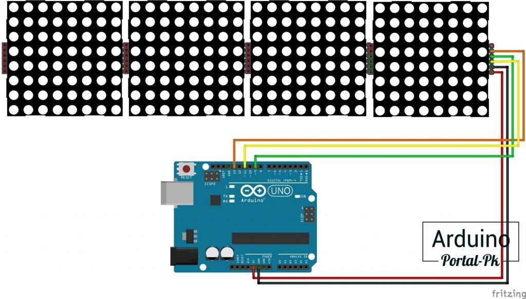 Схема подключения модуля с 4 матрицами к Arduino UNO.