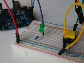 LED, button, Arduino UNO