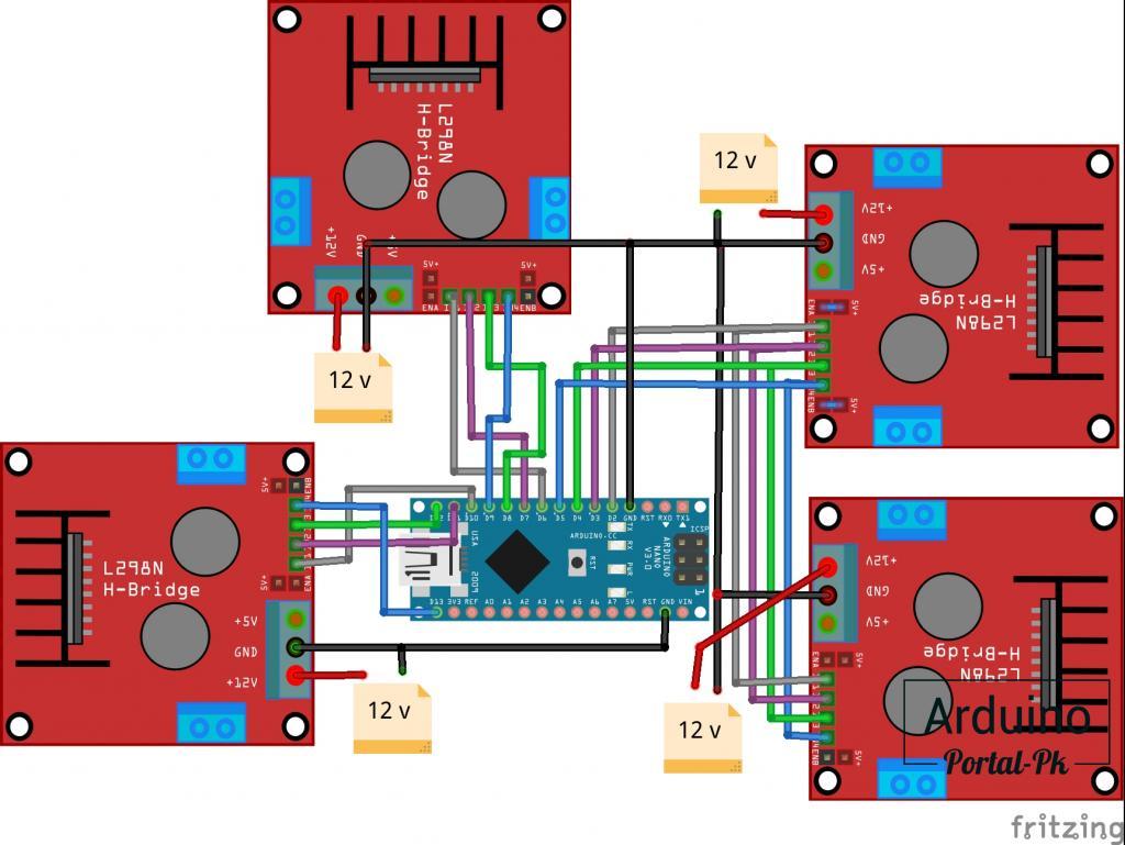 Схема подключения с двумя двигателями на оси X