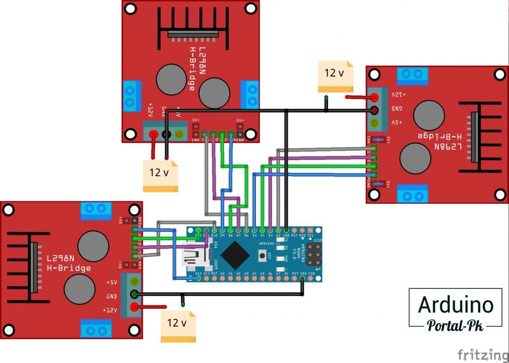 Схема подключения драйверов L298n к Arduino NANO